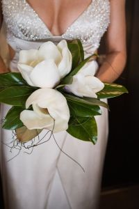 bride with magnolia
