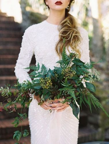 zielony bukiet slubny | all greenery wedding flowers with ferns