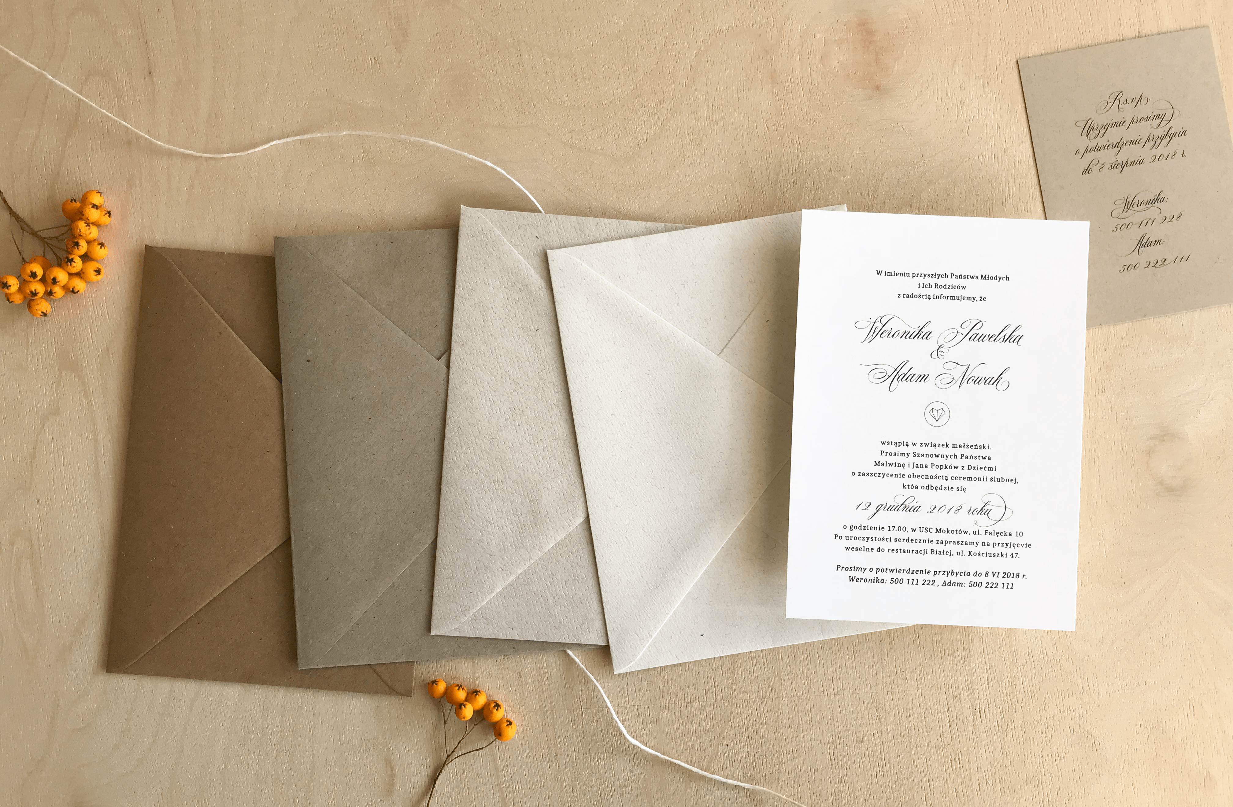 eco envelopes in different shades