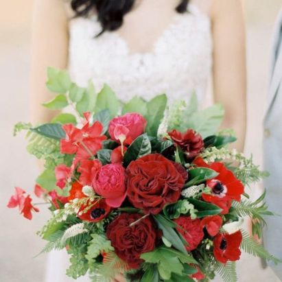 Wedding flowers - shades of red