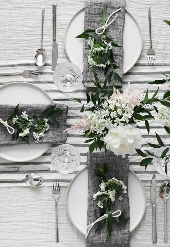 White & grey wedding table decor