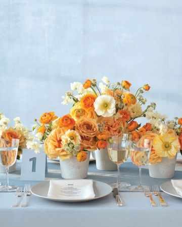 pale blue and orange summer wedding palette 2019